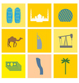 UAE landmark icons set Camels and oil pumps Palm vector image