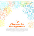 fireworks background colorful salute on white vector image