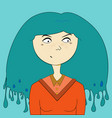 blue hair girl portrait vector image