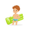 cute boy with inflatable mattress kids summer vector image