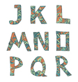 Hand drawn artistic font from lines letters J-R vector image