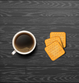 coffee with cracker vector image