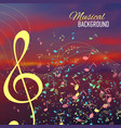Blurred sunset background with music key and notes vector image