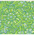 Green abstract seamless pattern with flowers vector image