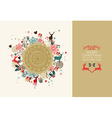 Merry Christmas vintage circle composition vector image