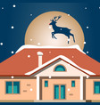 night xmas card with home vector image
