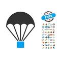 Parachute Icon With 2017 Year Bonus Symbols vector image