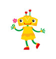 flat cartoon small funny girl robot vector image