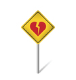 broken heart traffic sign vector image vector image