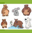 bears animal characters set vector image