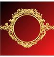 decorative frame retro gold frame on red vector image