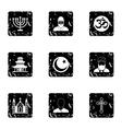 Faith icons set grunge style vector image