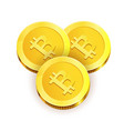 gold shiny coins with engraved bitcoin sign vector image