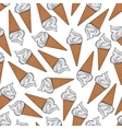 Ice cream in sugar waffle cones seamless pattern vector image