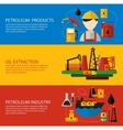 Oil Industry Banner Flat Set vector image