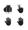 set of black silhouette hand icons signs vector image