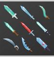 set of cartoon medieval swords vector image