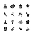sixteen black computer icons isolated on white vector image