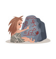 stone age cave kid sitting on the floor and vector image