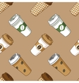 Take away coffee cup pattern vector image