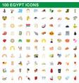 100 egypt icons set cartoon style vector image