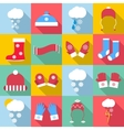 Winter clothes icons set flat style vector image