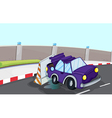 A violet car bumping the traffic cone at the road vector image vector image