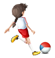 A female athlete using the ball with the Czech vector image