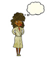 cartoon woman in trench coat with thought bubble vector image