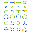 Blue green arrows icons set vector image vector image