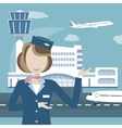 Stewardess on the Background of Airport and vector image vector image