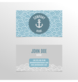 Business card design with doodle waves and anchor vector image