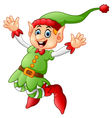 Cartoon Christmas Elf waving vector image
