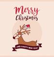 christmas and new year holiday santa claus deer vector image