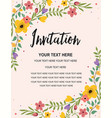 floral anniversary party invitation card template vector image