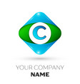 Realistic letter c logo in colorful rhombus vector image