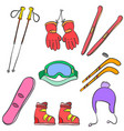 sport equipment colorful doodle style vector image