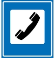 Phone sign on blue traffic sign vector image