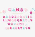 paper cut out sweet font design candy abc letters vector image
