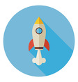 Flat Space Shuttle Rocket Circle Icon with Long vector image