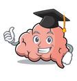 graduation brain character cartoon mascot vector image