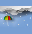paper art of colorful umbrella with winter vector image