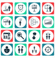 set of 16 board icons includes approved target vector image