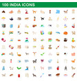 100 india icons set cartoon style vector image