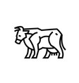Linear stylized drawing of cow vector image