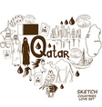 Qatar symbols in heart shape concept vector image