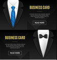 business card bow tie and necktie set vector image