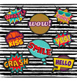Set of embroidery text patch with pop art elements vector image