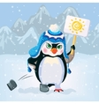 Unhappy penguin holding a sign vector image