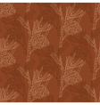seamless pattern with pine branches on a brown vector image